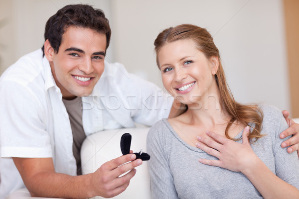 Happy young couple just got engaged Stock photo © wavebreak_media
