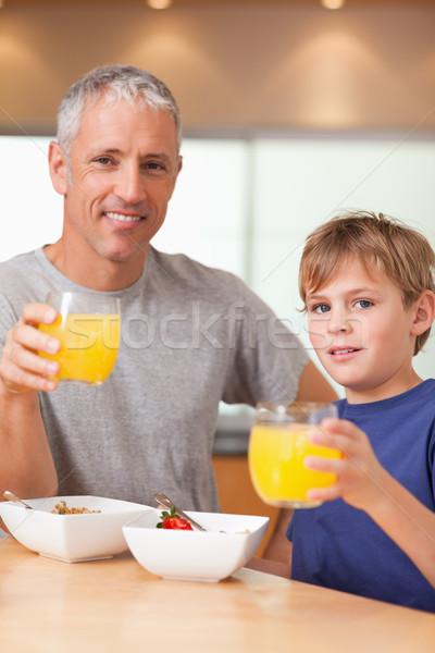 портрет Cute мальчика отец завтрак кухне Сток-фото © wavebreak_media