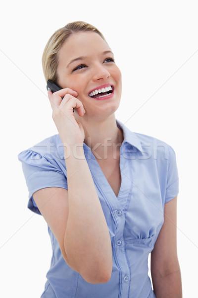 Gülme kadın telefonu beyaz gülümseme teknoloji telefon Stok fotoğraf © wavebreak_media