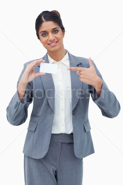 Vendedora senalando tarjeta de visita blanco negocios papel Foto stock © wavebreak_media