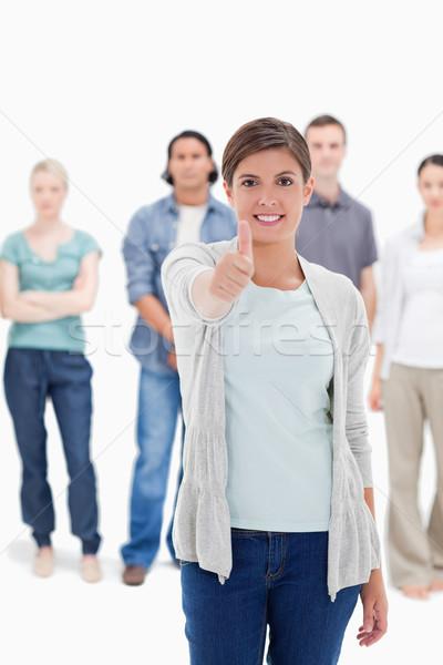 Primo piano donna persone dietro bianco mano Foto d'archivio © wavebreak_media