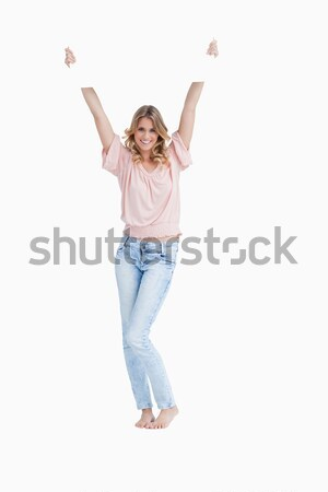 笑顔の女性 白 プラカード 頭 背景 ストックフォト © wavebreak_media