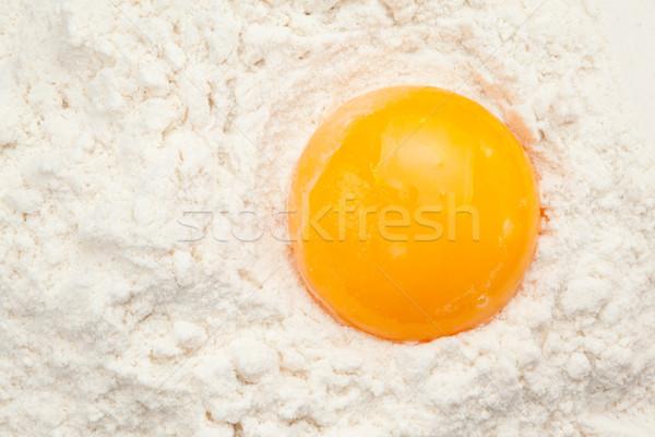 Foto stock: Huevo · yema · de · huevo · harina · vista · alimentos