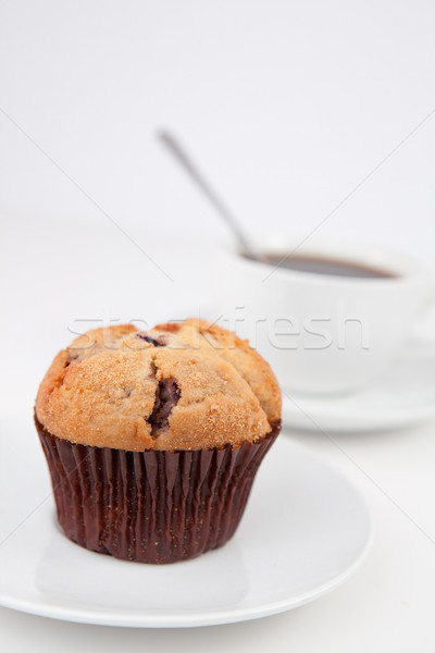 Muffin beker koffie lepel witte platen Stockfoto © wavebreak_media