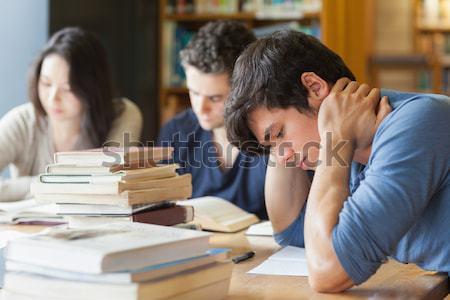 öğrenci uyku çalışma tablo kütüphane adam Stok fotoğraf © wavebreak_media