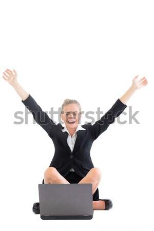 Geslaagd zakenvrouw handen overwinning laptop jonge Stockfoto © wavebreak_media