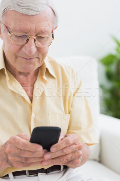 Odaklı yaşlı adam kanepe ev Stok fotoğraf © wavebreak_media