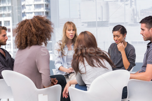 Woman crying during group therapy session Stock photo © wavebreak_media