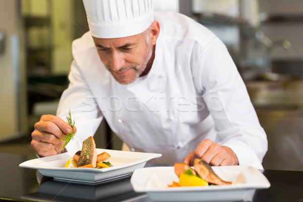 Concentrated male chef garnishing food in kitchen Stock photo © wavebreak_media