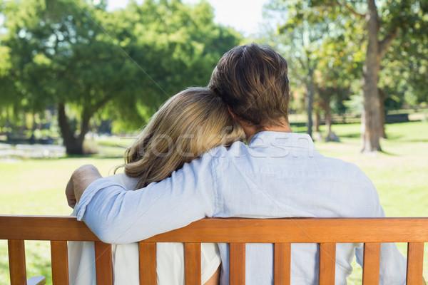 Szeretetteljes pár megnyugtató park pad együtt Stock fotó © wavebreak_media