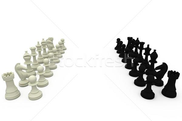 Blanco negro piezas de ajedrez blanco ajedrez equipo negro Foto stock © wavebreak_media