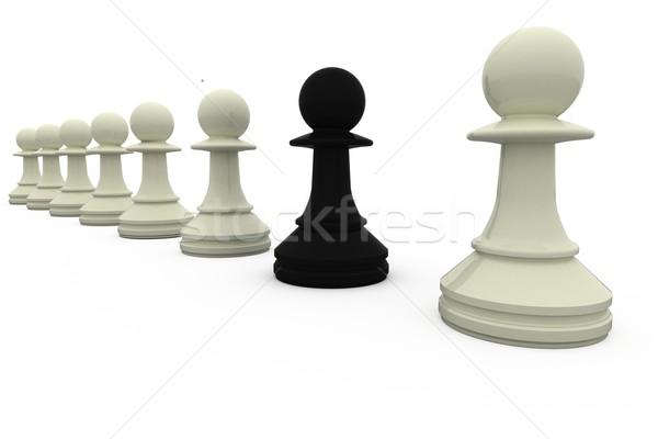 Zwarte schaken pion permanente witte stukken Stockfoto © wavebreak_media