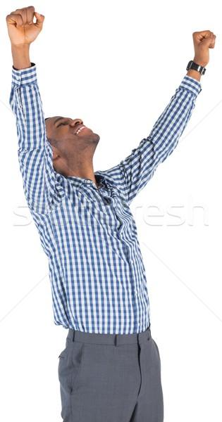 Opgewonden zakenman juichen witte glimlachend mannelijke Stockfoto © wavebreak_media