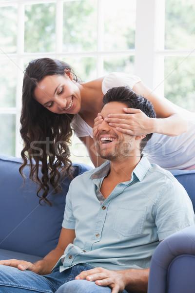 Csinos barna hajú szemek kanapé otthon nappali Stock fotó © wavebreak_media