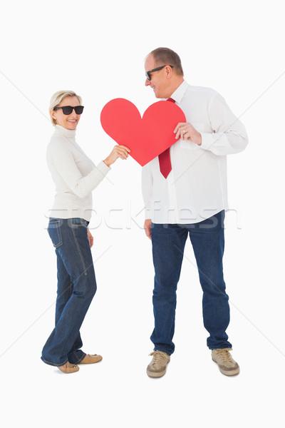 Afetuoso casal vermelho forma de coração Foto stock © wavebreak_media
