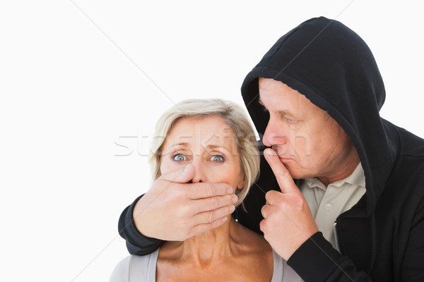 Older man silencing his fearful partner Stock photo © wavebreak_media