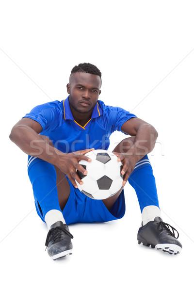 Futballista kék ül labda fehér sport Stock fotó © wavebreak_media