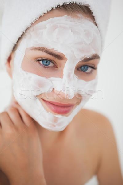 Gyönyörű szőke nő kezelés gyógyfürdő mosoly hotel Stock fotó © wavebreak_media