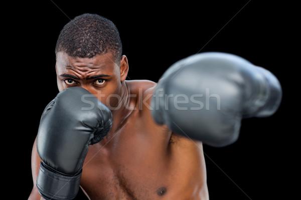 Jonge shirtless mannelijke bokser sport fitness Stockfoto © wavebreak_media