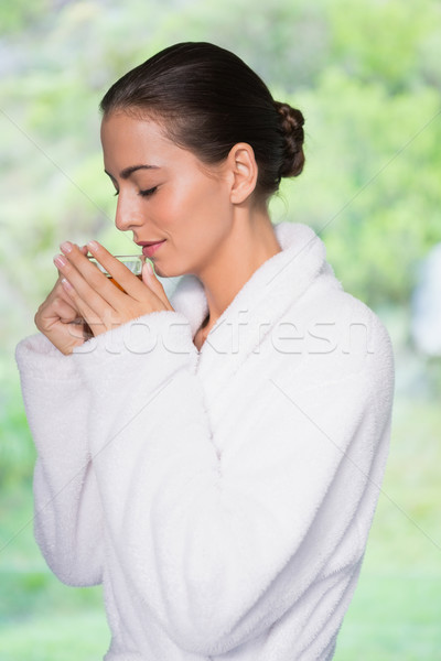 Mujer hermosa albornoz té vista lateral hermosa Foto stock © wavebreak_media