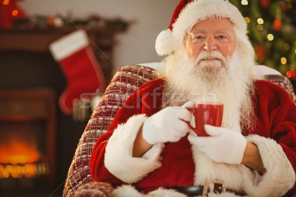 笑みを浮かべて サンタクロース マグ ホーム リビングルーム ストックフォト © wavebreak_media