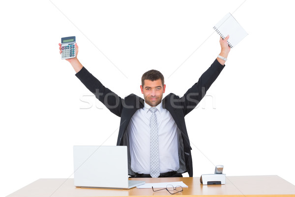 Stok fotoğraf: Işadamı · hesap · makinesi · günlük · büro · bilgisayar
