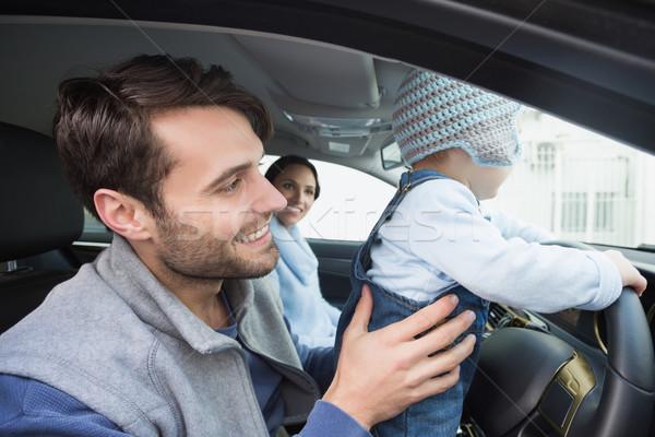 Ebeveyn bebek sürmek araba eğlence erkek Stok fotoğraf © wavebreak_media