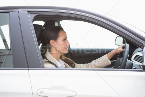 Gericht mooie zakenvrouw rijden auto venster Stockfoto © wavebreak_media