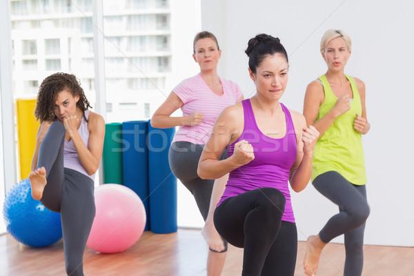 Nők gyakorol kickbox fitnessz stúdió sportos Stock fotó © wavebreak_media