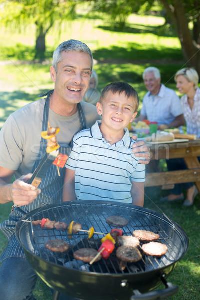 Feliz pai churrasco filho primavera Foto stock © wavebreak_media