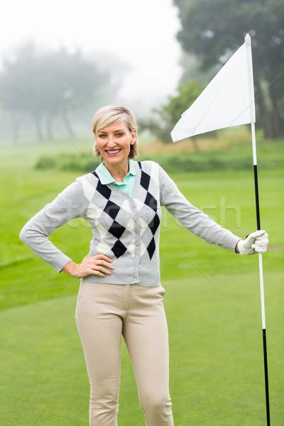 Lady гольфист флаг туманный день Сток-фото © wavebreak_media