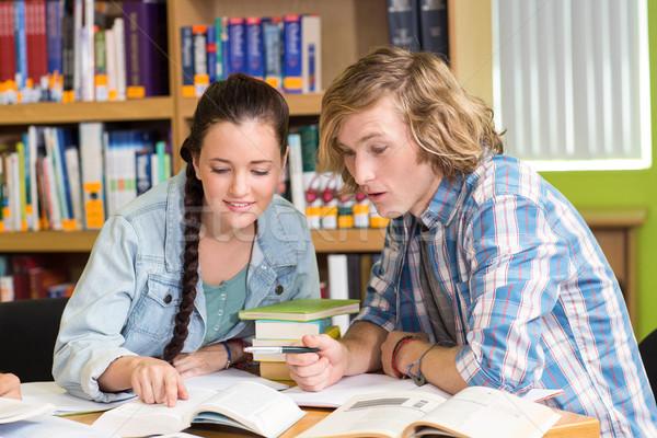 College studenten huiswerk bibliotheek portret vrouw Stockfoto © wavebreak_media