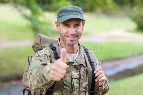 Soldier looking at camera thumbs up Stock photo © wavebreak_media