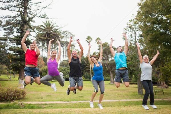 Сток-фото: счастливым · спортивный · прыжки · вместе · человека