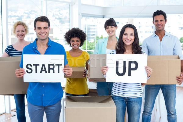 創造 ビジネスチーム 段ボール 書かれた 開始 ストックフォト © wavebreak_media