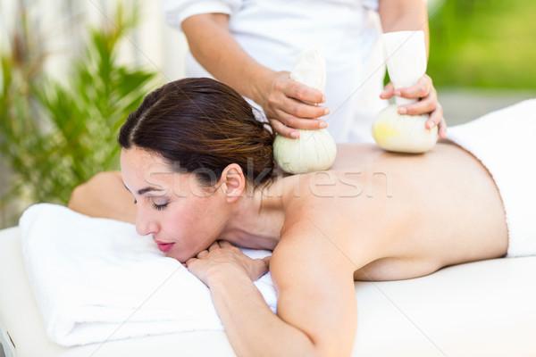 Brunette having massage with herbal compresses Stock photo © wavebreak_media
