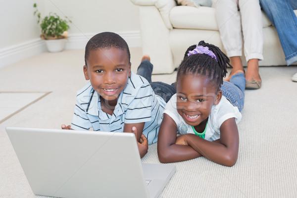 Stok fotoğraf: Mutlu · kardeşler · zemin · dizüstü · bilgisayar · kullanıyorsanız · ev · oturma · odası