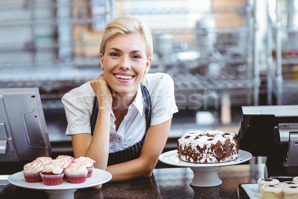 счастливым довольно блондинка торт бизнеса Сток-фото © wavebreak_media