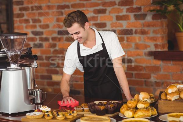 微笑 咖啡師 清洗 對付 咖啡館 業務 商業照片 © wavebreak_media