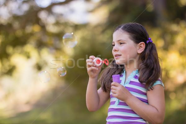 девочку играет пузыря лес природы Сток-фото © wavebreak_media