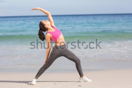 Stockfoto: Jonge · vrouw · strand · blauwe · hemel · vrouw