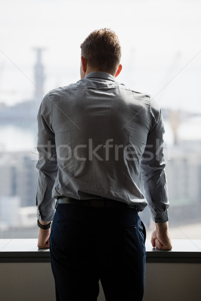 Achteraanzicht uitvoerende naar venster kantoor man Stockfoto © wavebreak_media