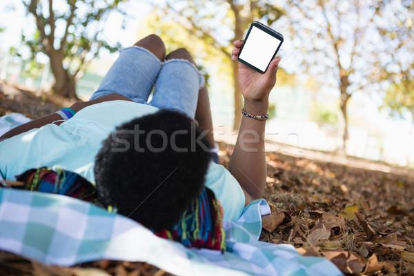 Jonge man mobiele telefoon picknickdeken park kunst zwarte Stockfoto © wavebreak_media