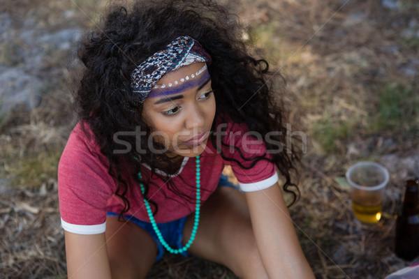 Donna seduta parco festival di musica estate Foto d'archivio © wavebreak_media