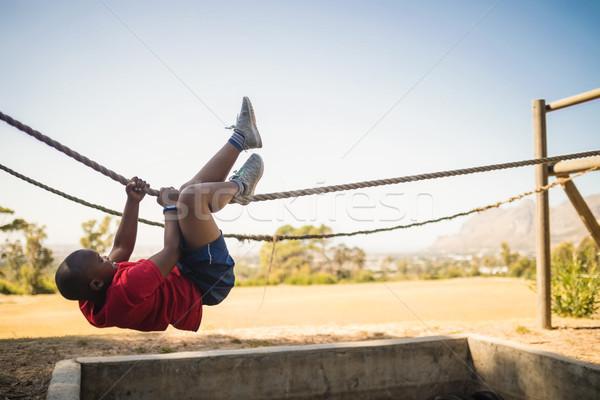 Erkek halat çizme kamp Stok fotoğraf © wavebreak_media