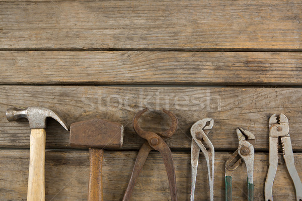 Overhead view of hand tools on table Stock photo © wavebreak_media
