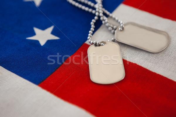 Hond tag Amerikaanse vlag full frame vlag Stockfoto © wavebreak_media