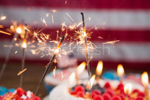 патриотический торт деревянный стол фрукты Сток-фото © wavebreak_media