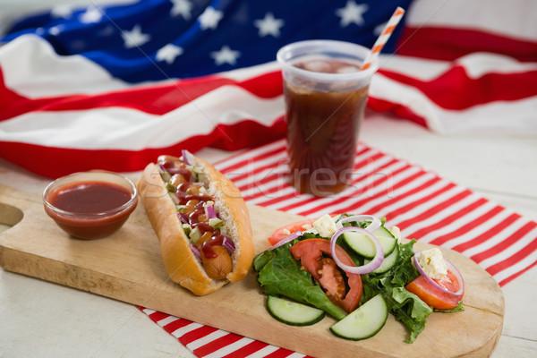 американский флаг Hot Dog деревянный стол продовольствие стекла Сток-фото © wavebreak_media