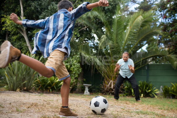 Boy playing soccer with grandfather Stock photo © wavebreak_media
